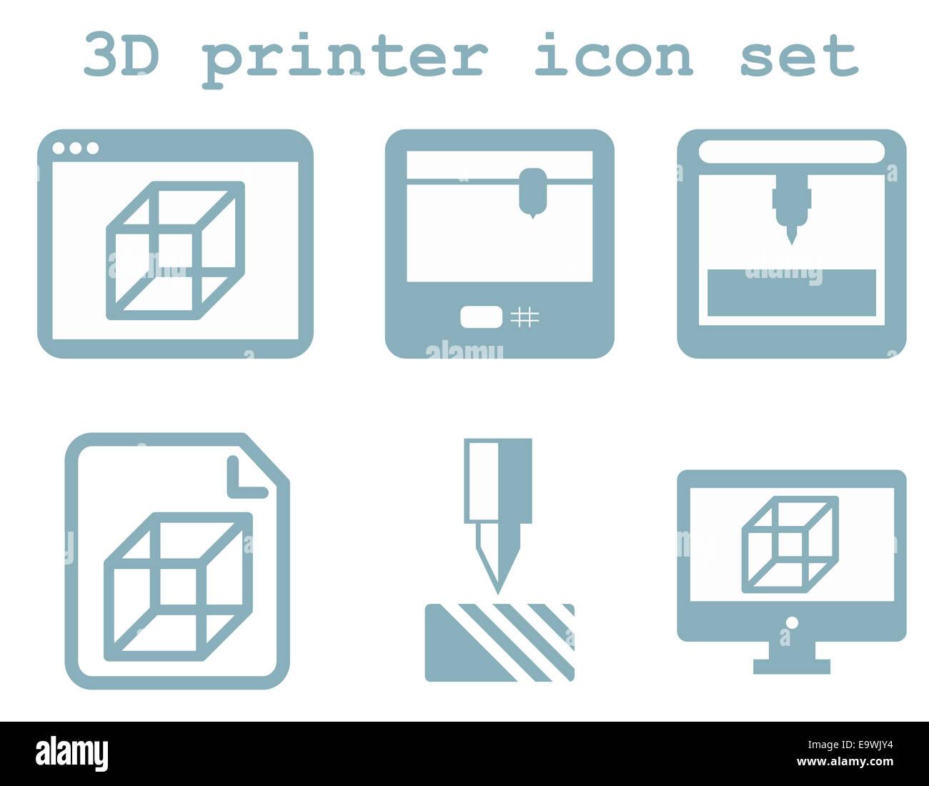 Vektor Icon Set von 3d Druck Technologie, flache blaue isoliert ...