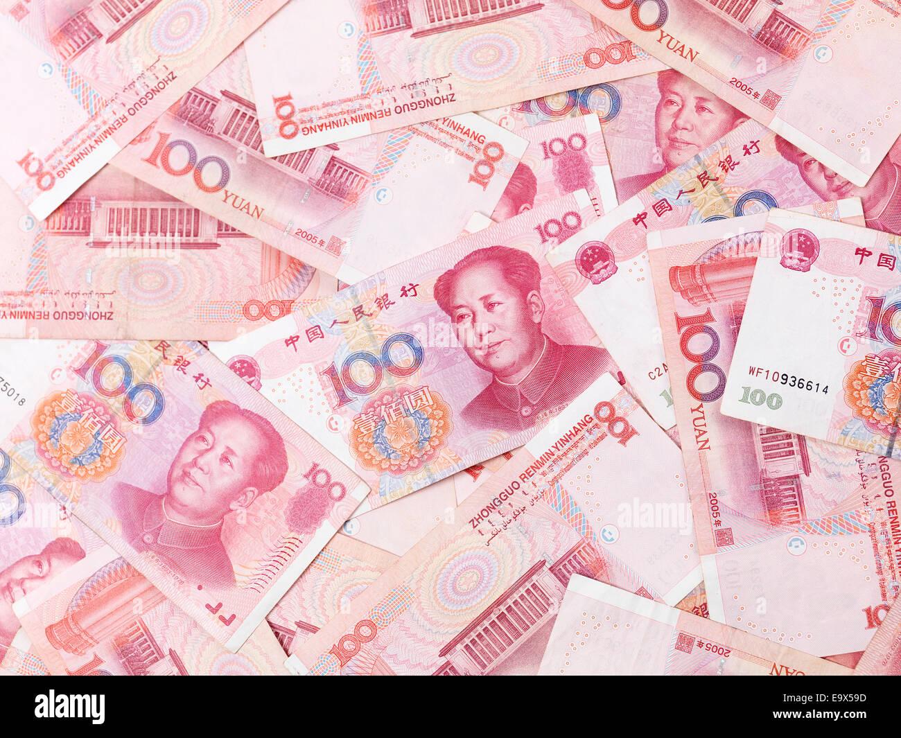Chinesische Yuan 100 Rechnungen Renminbi Geld Währung Hintergrund Stockbild