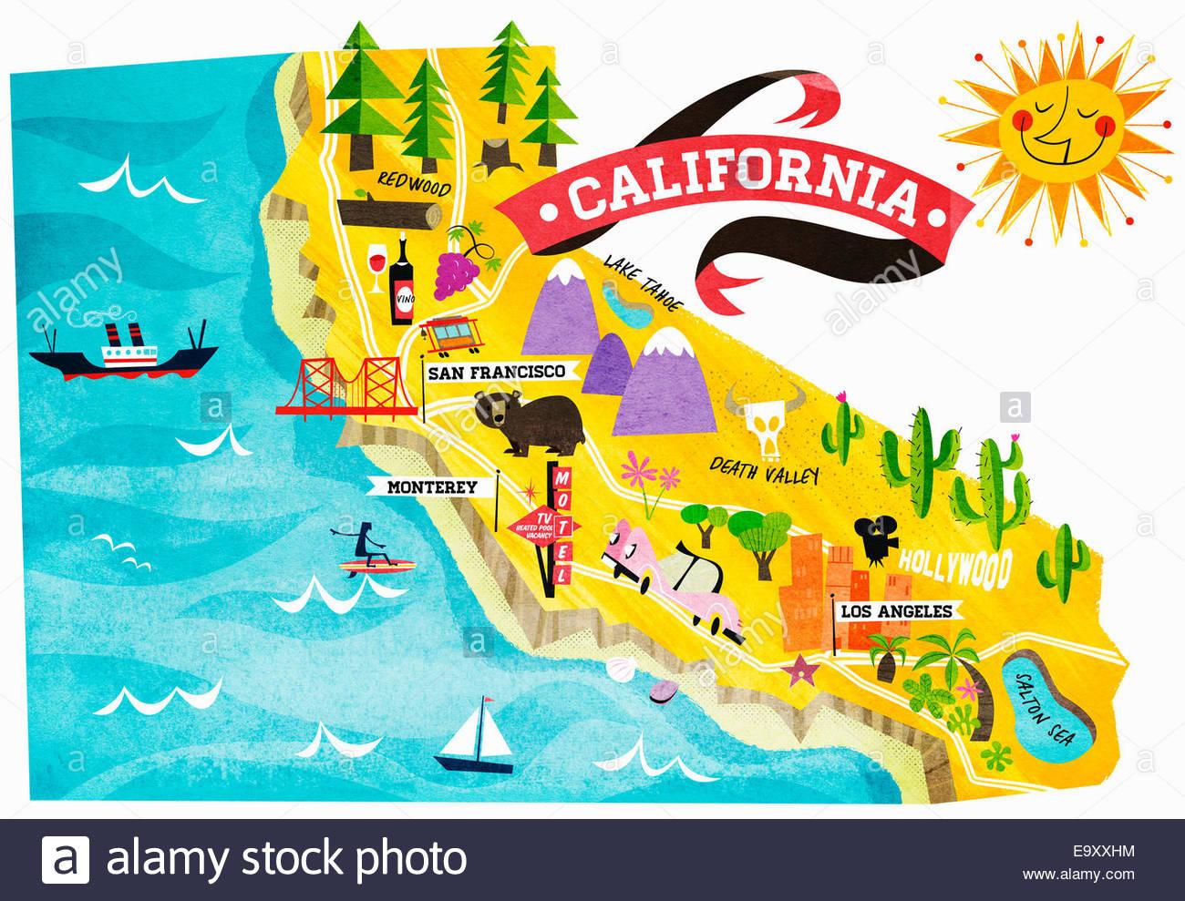 Kalifornien Karte.Karte Der Sehenswürdigkeiten In Kalifornien Stockfoto Bild