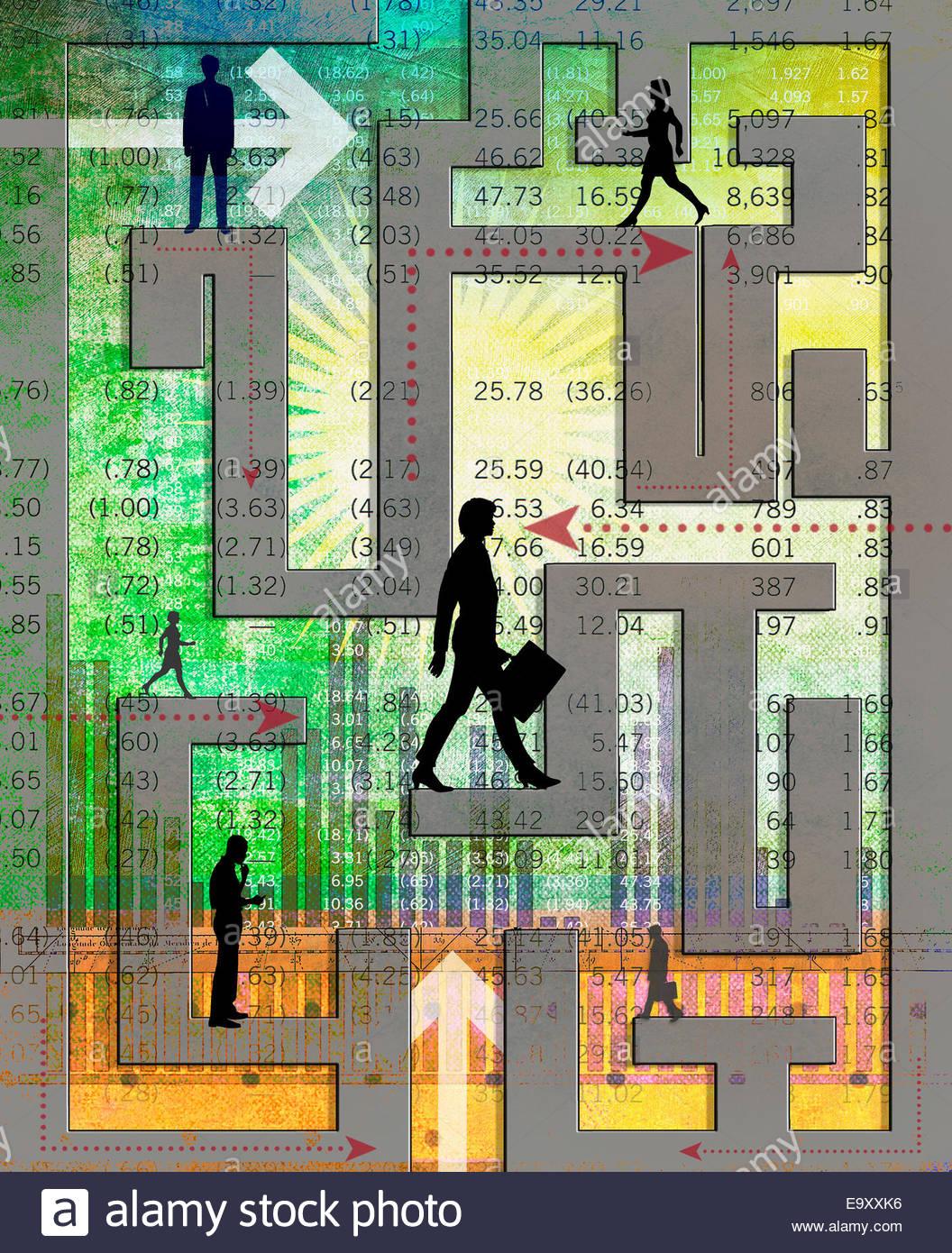 Geschäftsleute, die Navigation durch komplexe finanzielle Labyrinth Stockbild