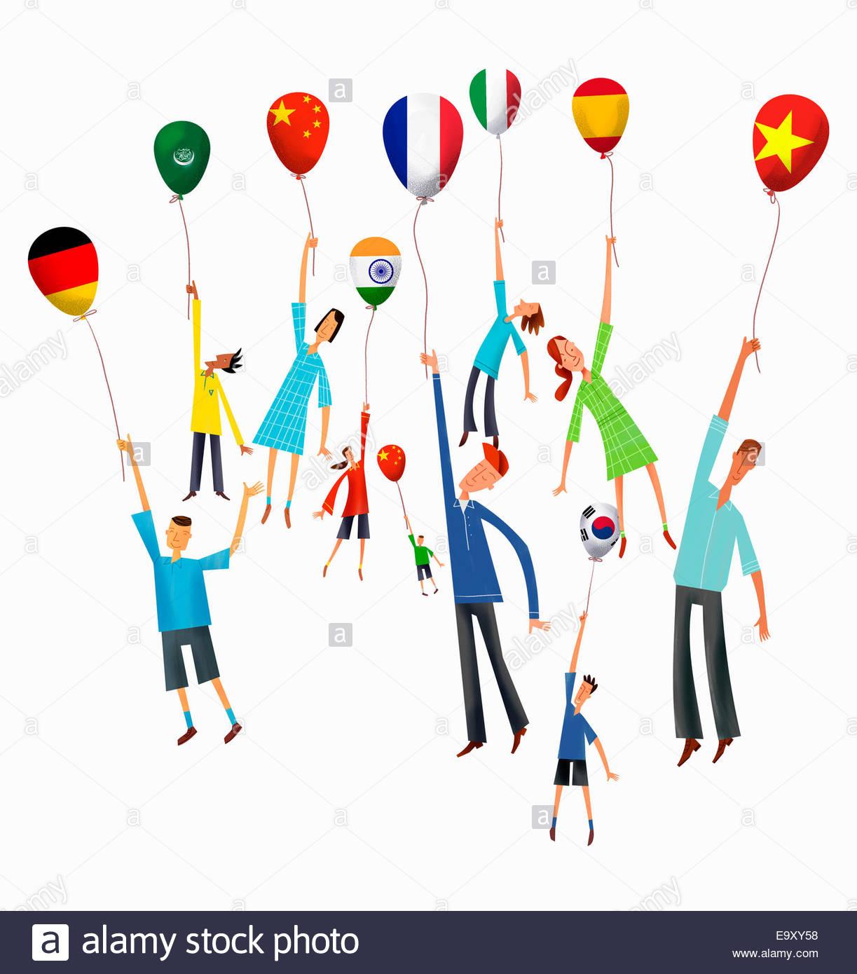 Menschen halten internationale Flagge Luftballons steigen Stockbild