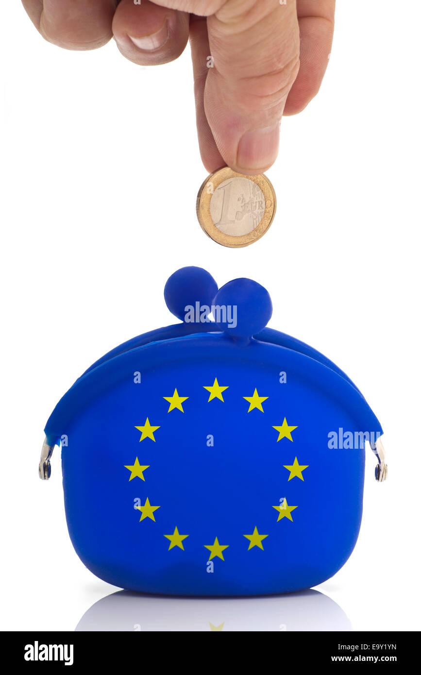 Hand Fallenlassen Einer Euro Münze In Eine Blaue Geldbörse Mit Euro