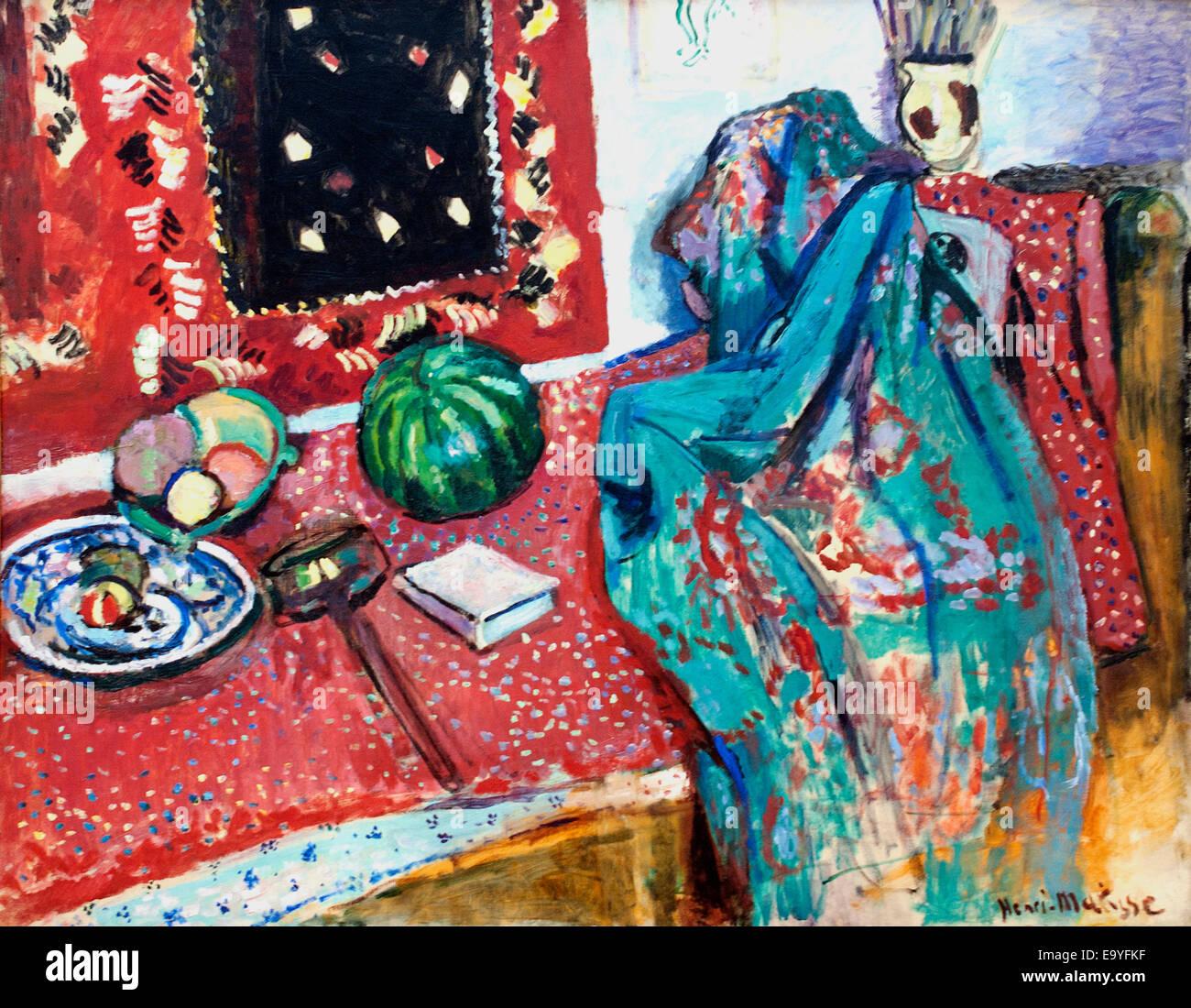 Les Tapis Rouge - Der rote Teppich 1906 von Henri Matisse Frankreich Französische Maler Stockbild