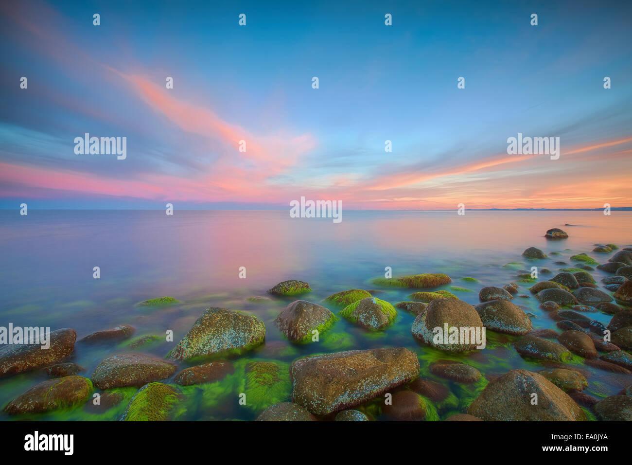 Sonnenuntergang am Moelen Stockbild