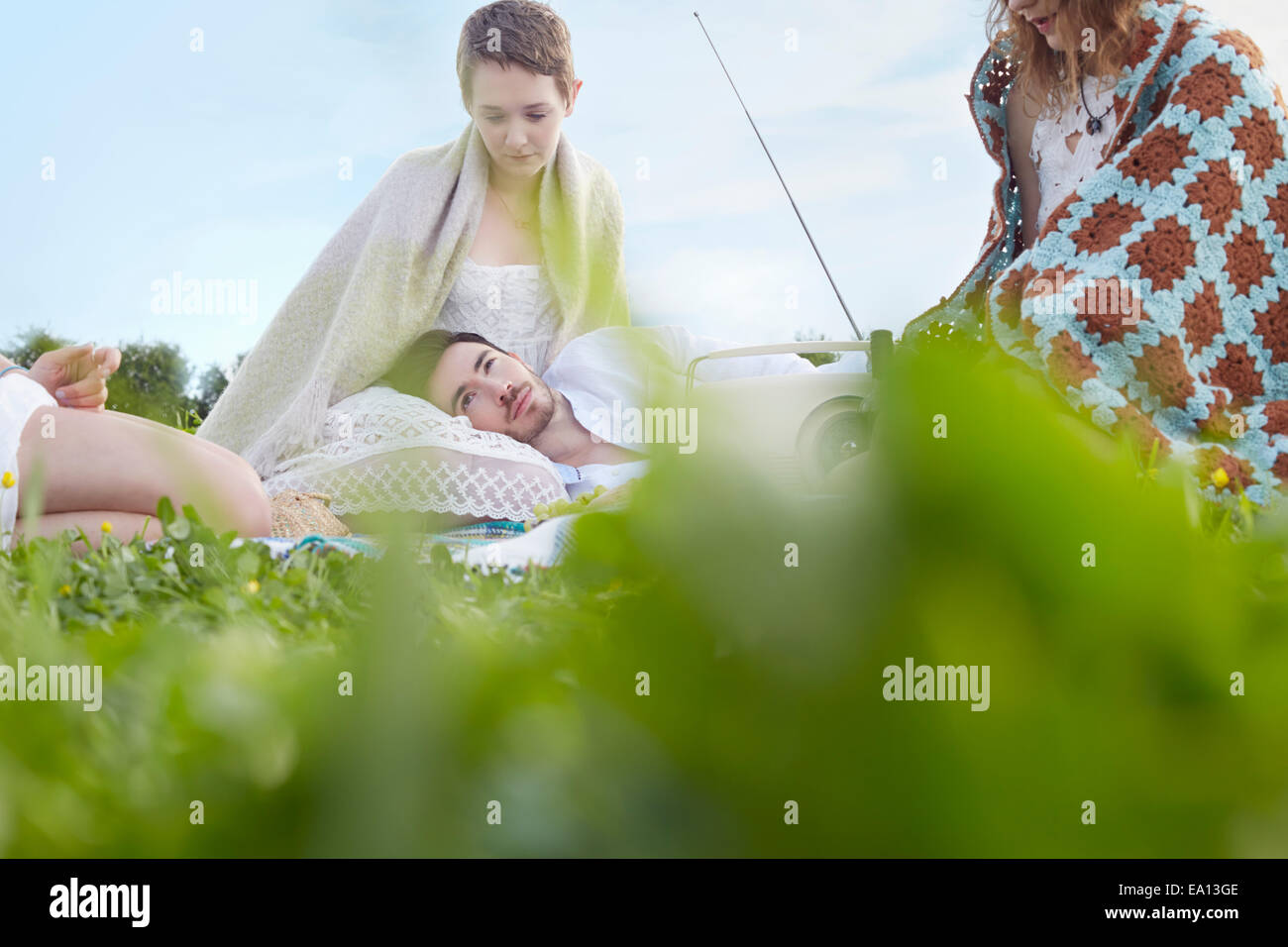 Vier junge Erwachsene Freunde ruhen im Feld Stockbild