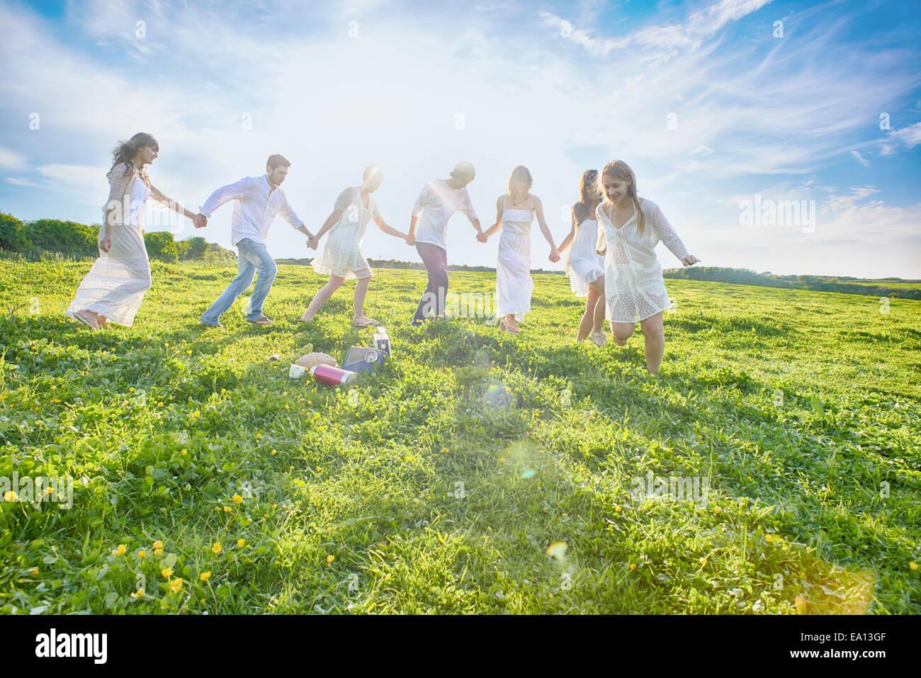 Sieben junge Erwachsene Freunde Hand in Hand und im Feld laufen Stockbild