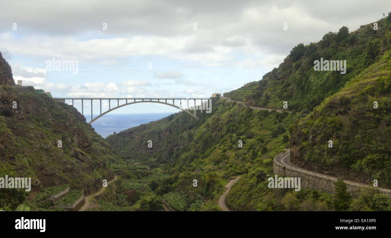 Los Tilos Brücke La Palma Stockbild