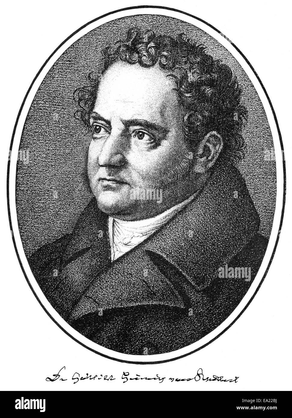 Gotthilf Heinrich von Schubert, 1780-1860, deutscher Arzt, Naturforscher und Naturphilosoph der Romantik, Porträt Stockbild
