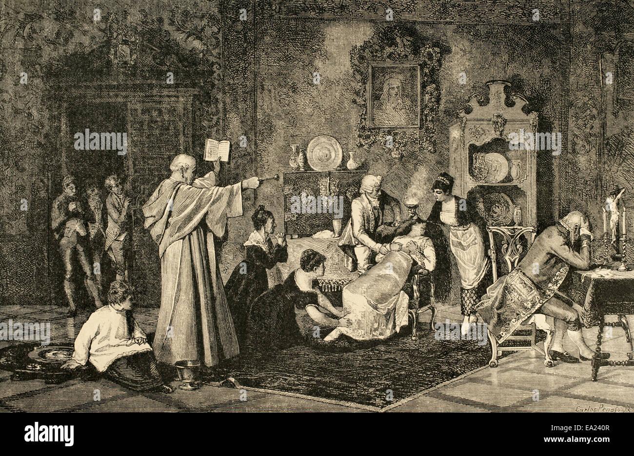 Exorzismus. Kleriker einen Zauber gegen den bösen Geist zu tun. Gravur von C. Stockbild