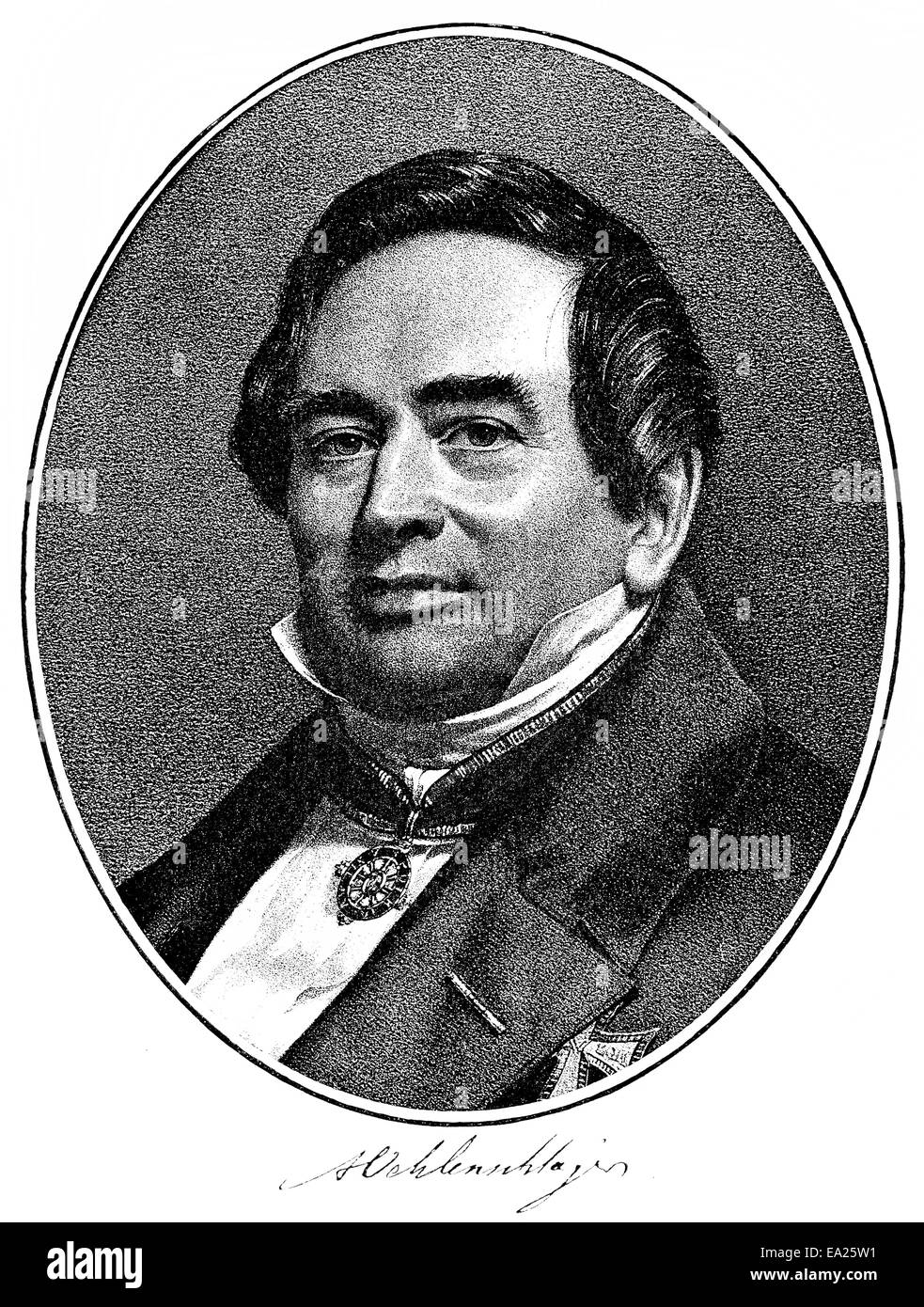 Porträt von Adam Gottlob Oehlenschläger, 1779-1850, dänischer Dichter und Dramatiker, Porträt Stockbild