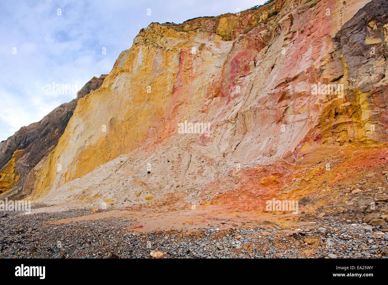 Bunten Klippen von Alum Bay, Isle Of Wight, UK. Stockfoto