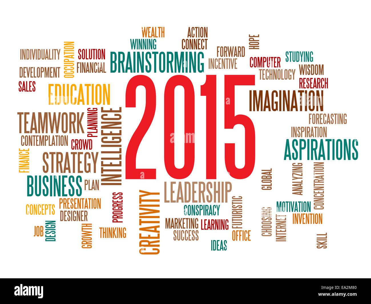 Business-Strategie in 2015 Konzept Wortwolke Stockbild