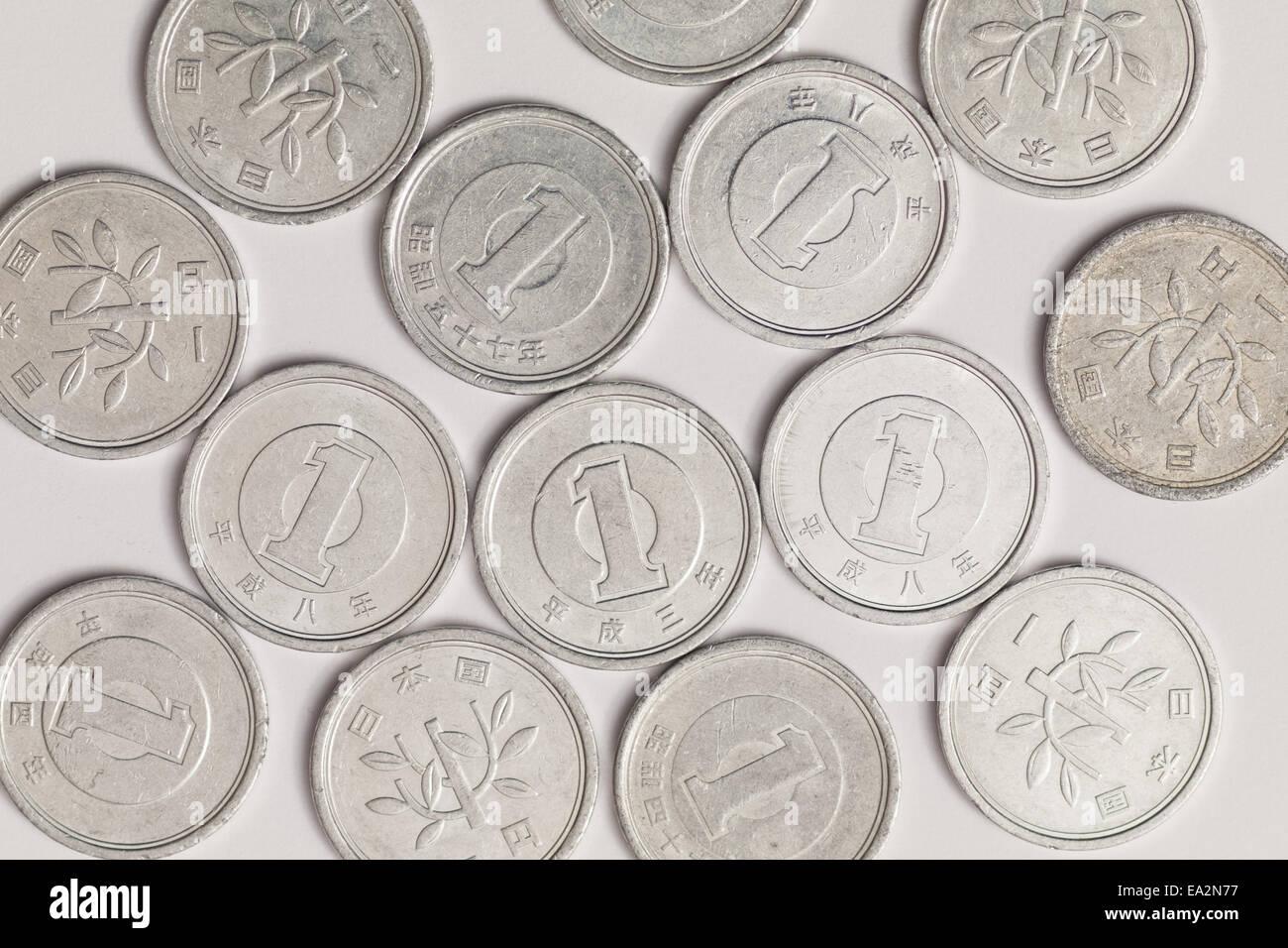 Eine Nahaufnahme Der Japanischen Eine Yen Münzen 1 Yen Münzen Die