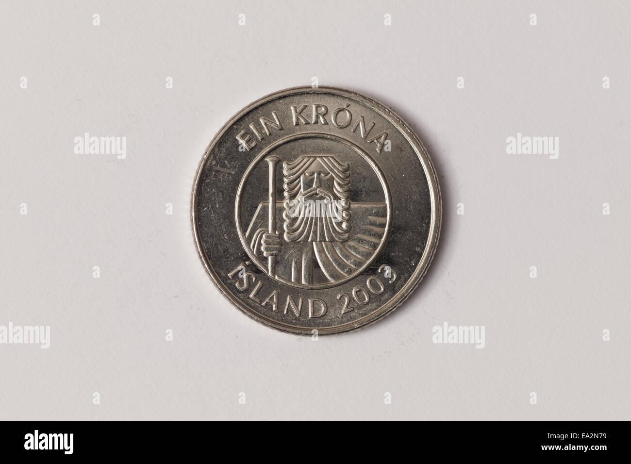 Eine Isländische Krone Isk Münze Stockfoto Bild 75048605 Alamy