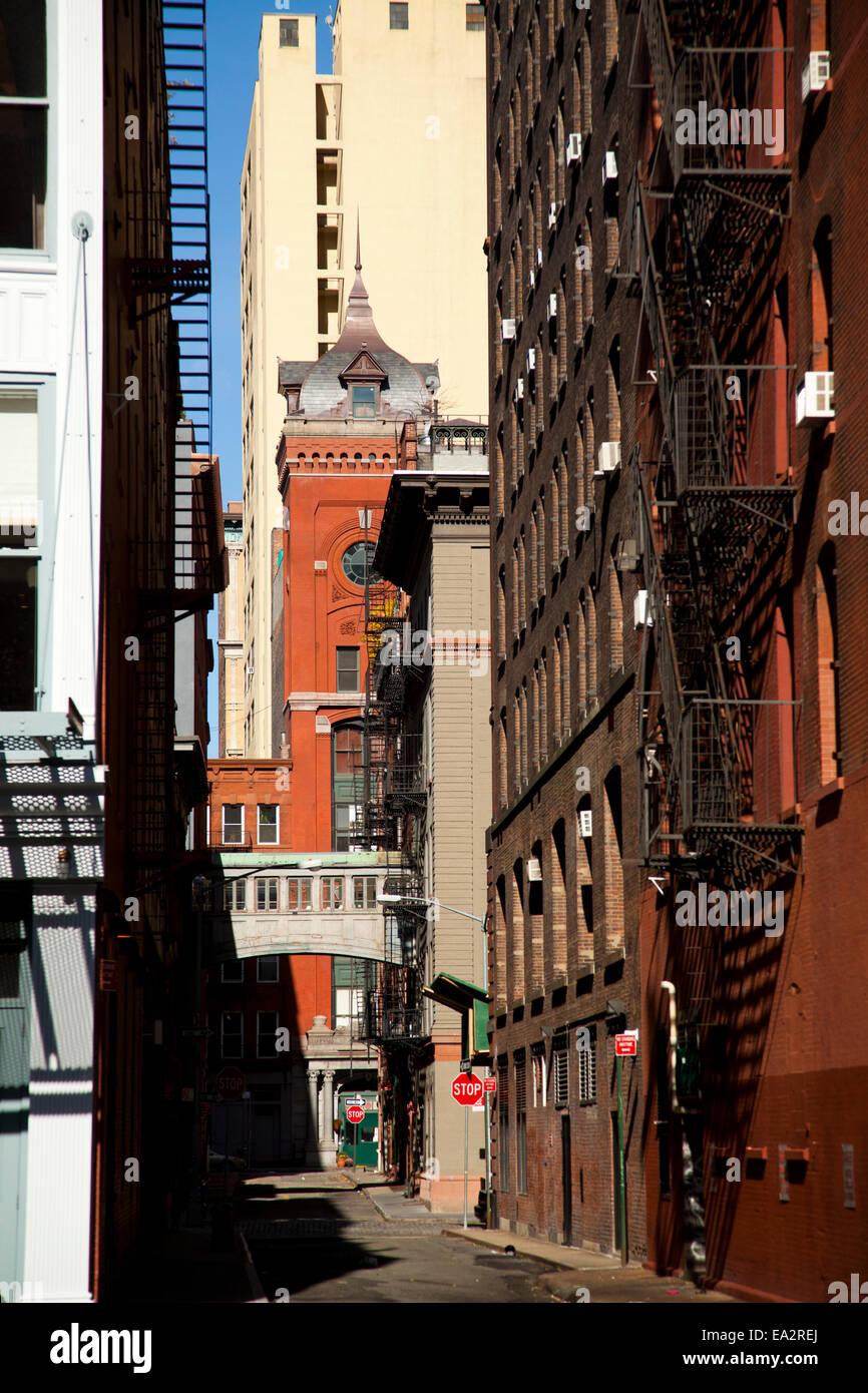 Gasse, Tribeca Bereich, Manhattan, New York, Vereinigte Staaten von Amerika Stockbild
