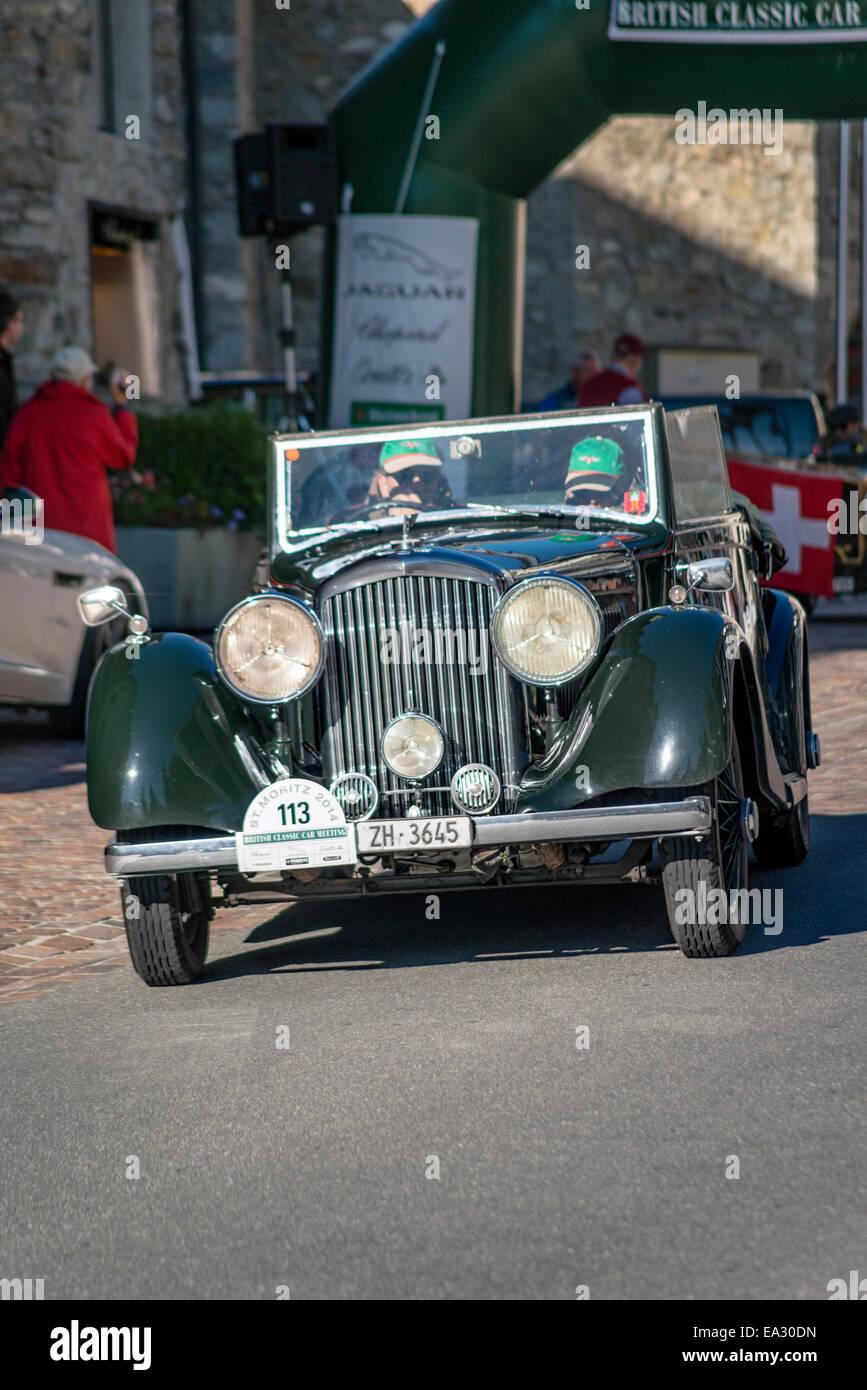 Rolls Royce Oldtimer zu Beginn der jährlichen British Classic Car Meeting 2014 St. Moritz, Schweiz. Stockbild