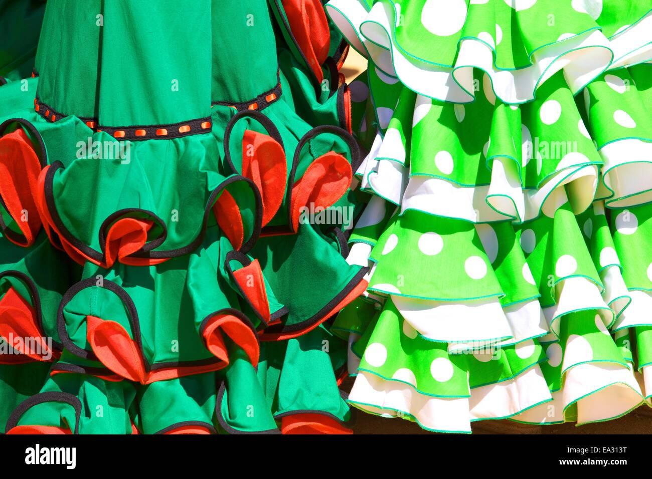 Traditionelle spanische Kleid, jährliche Pferdemesse, Jerez De La Frontera, Provinz Cadiz, Andalusien, Spanien, Stockbild