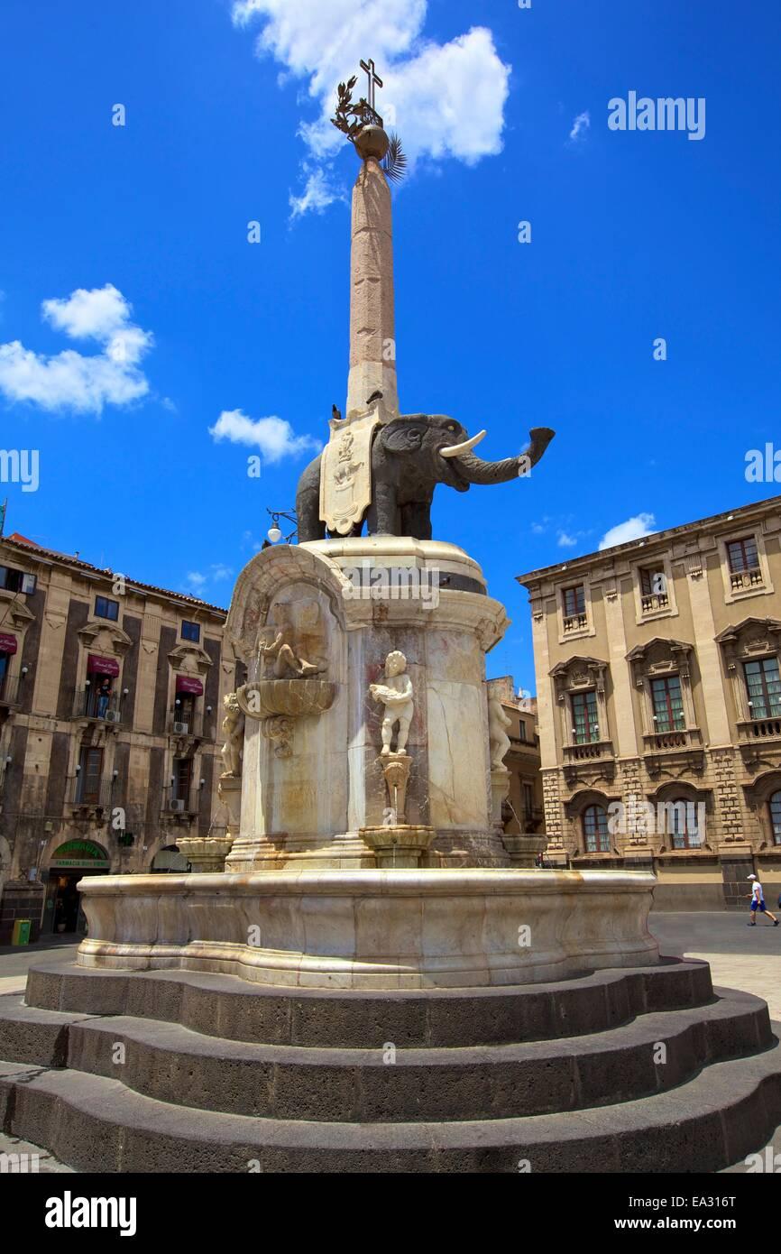 Elefant-Brunnen, Catania, Sizilien, Italien, Europa Stockbild