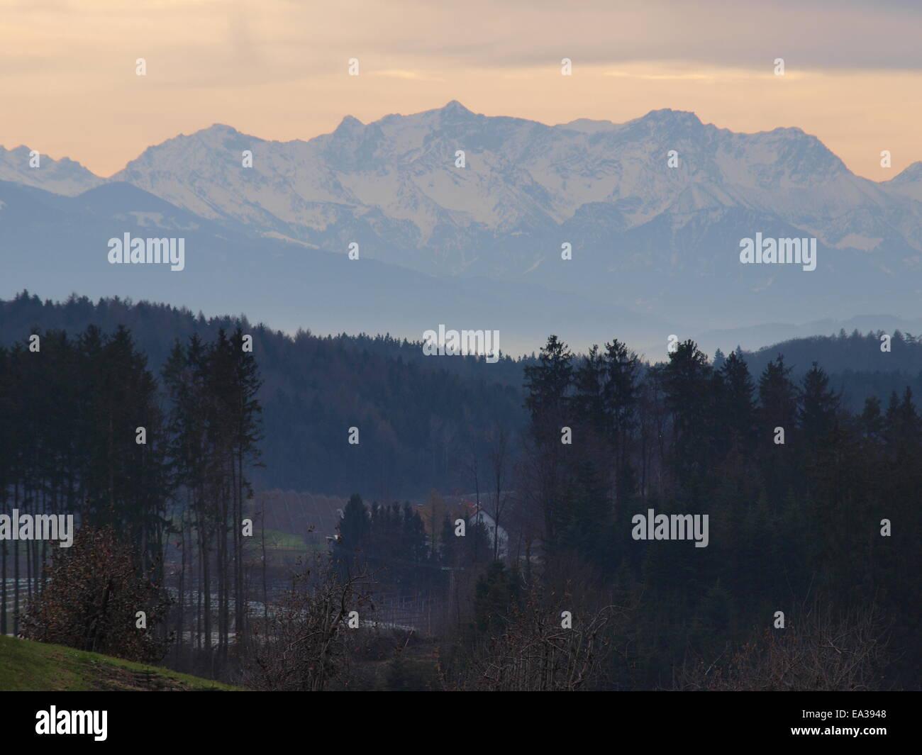 Föhn am Bodensee, Blick auf die Alpen Stockbild