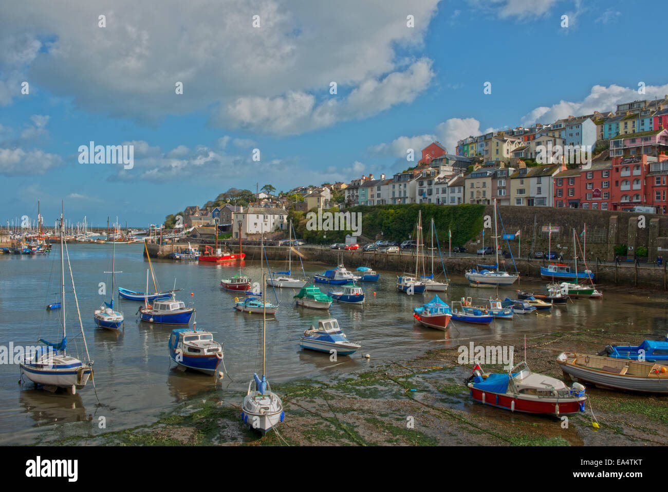 Hafen von Brixham, Torbay, Devon, Südwest-England, Uk. Stockbild