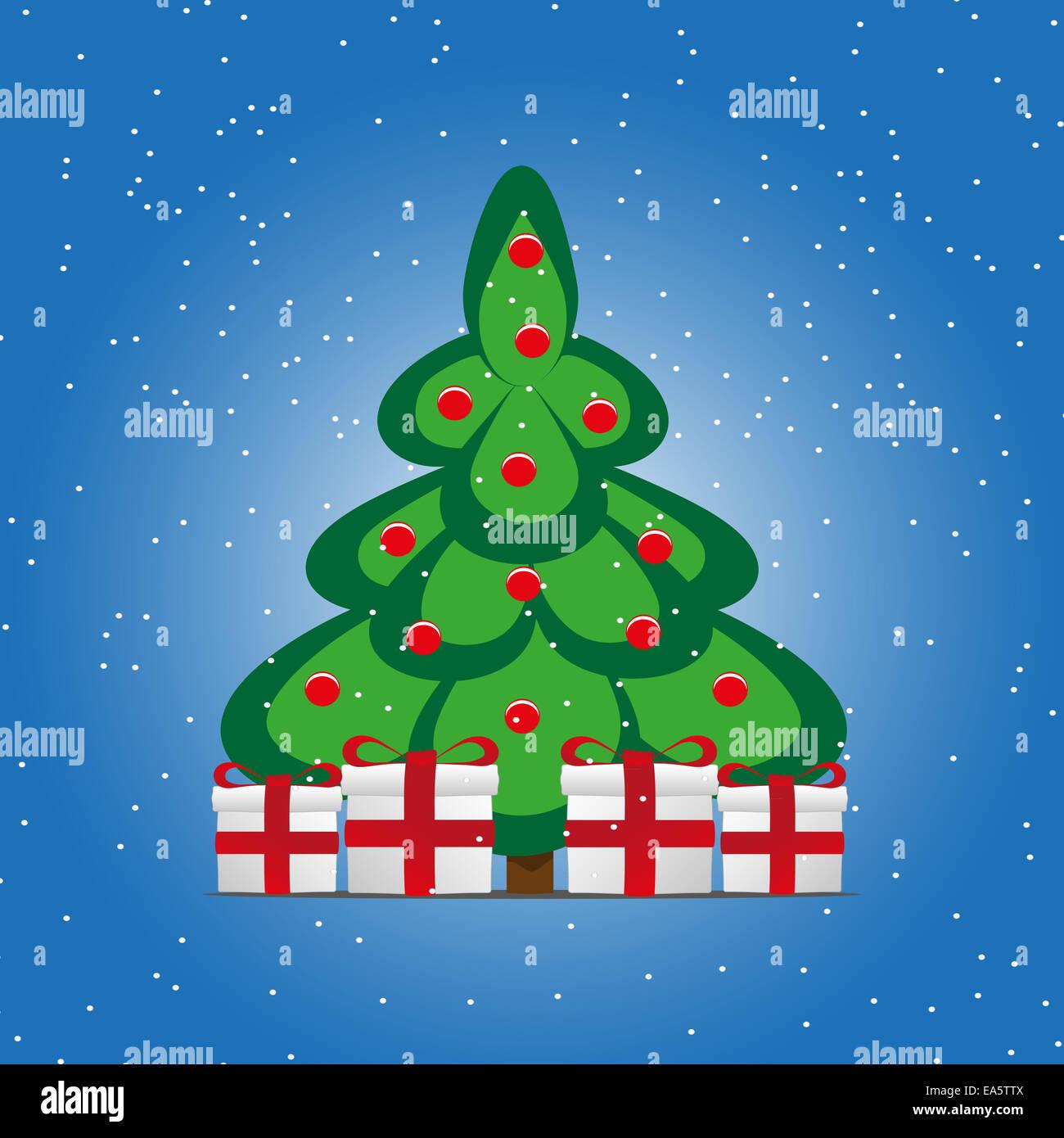 Cartoon-Weihnachtsbaum-Geschenk-Boxen Stockfoto, Bild: 75117306 - Alamy