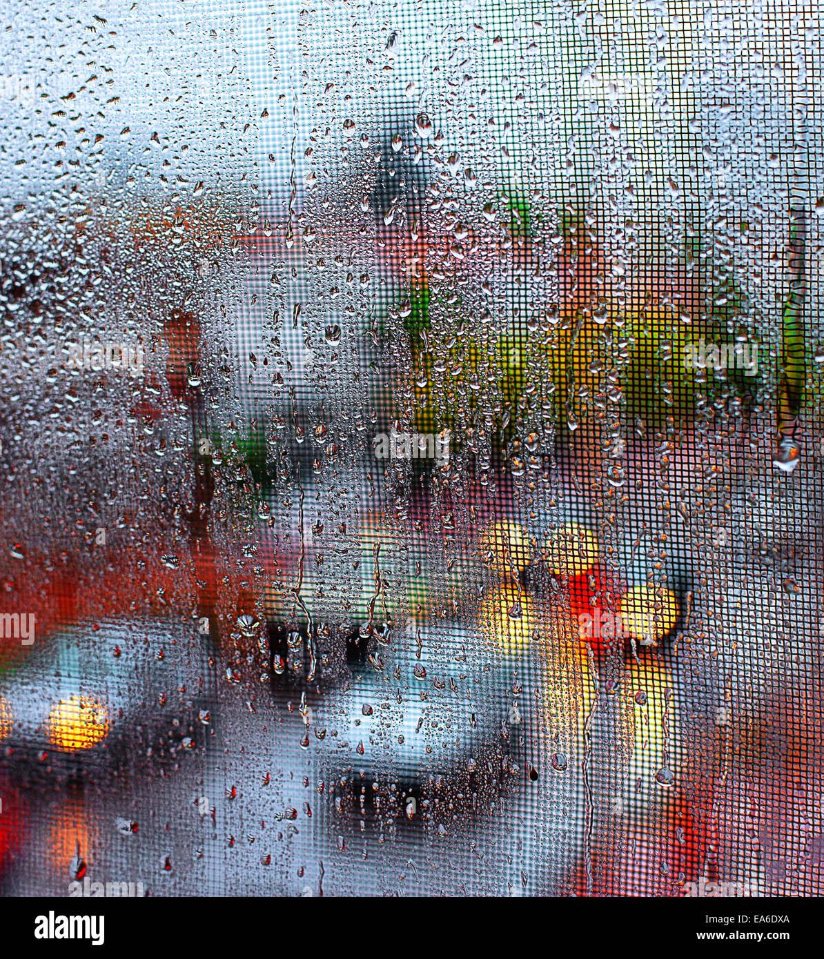 Verkehr durch Fenster Stockbild