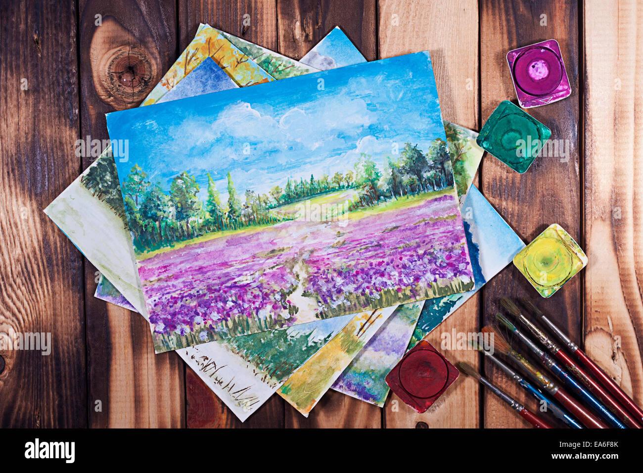 Wasserfarben und Pinsel Stockfoto