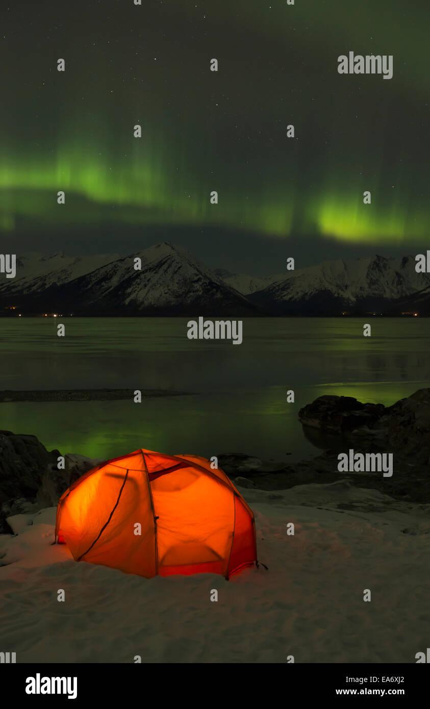 Winter, Beleuchtung, Zelt, Nordlicht, grün Stockbild
