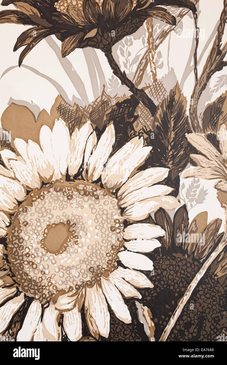 Ein Detail geschossen von retro Flower print Tapeten.  In der Nähe von Oakville, Ontario, Kanada.  Dieses Haus Stockbild