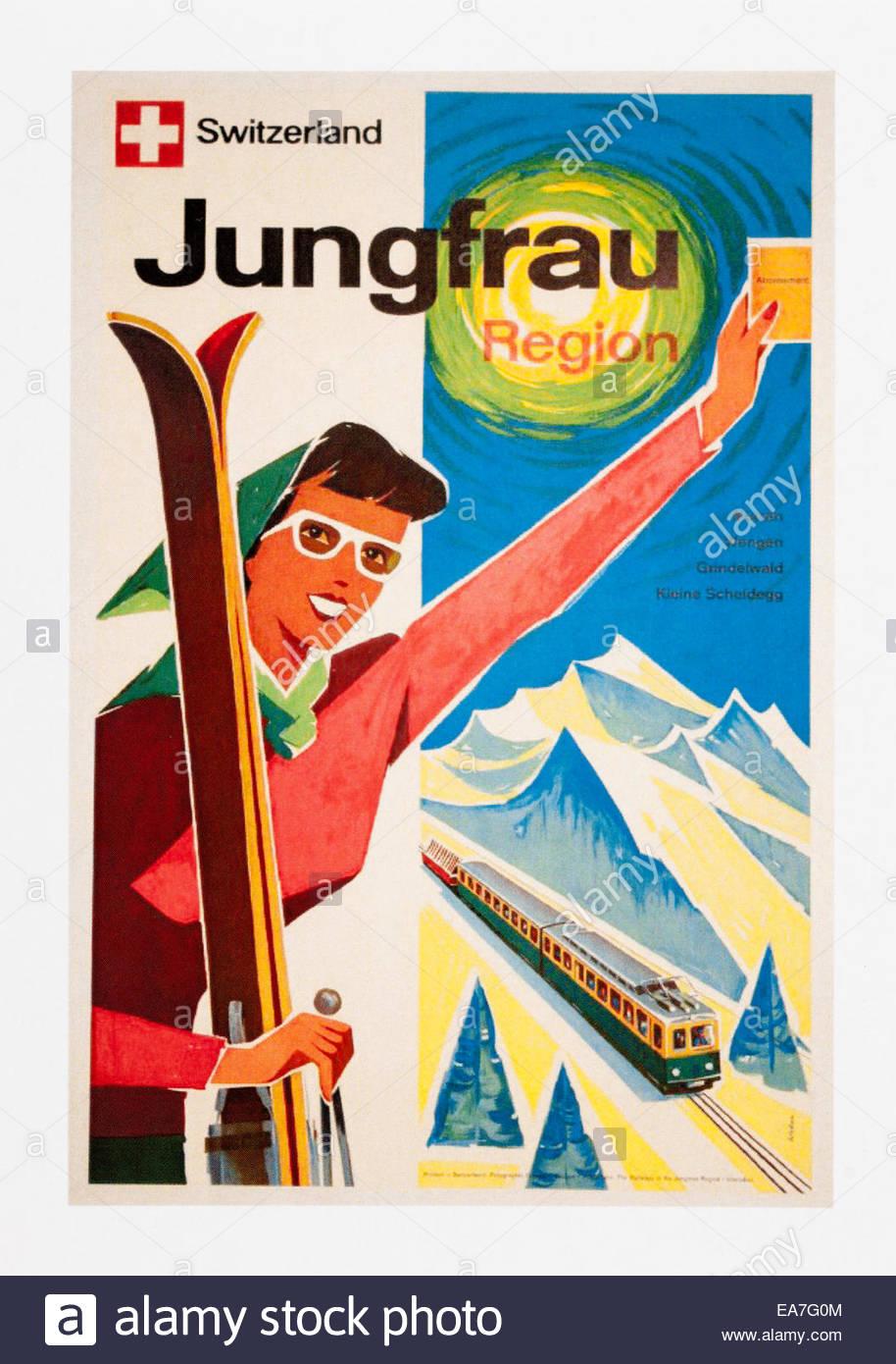 Oldtimer Reise Plakatwerbung Schweiz Jungfrauregion. Editorial nur Stockfoto