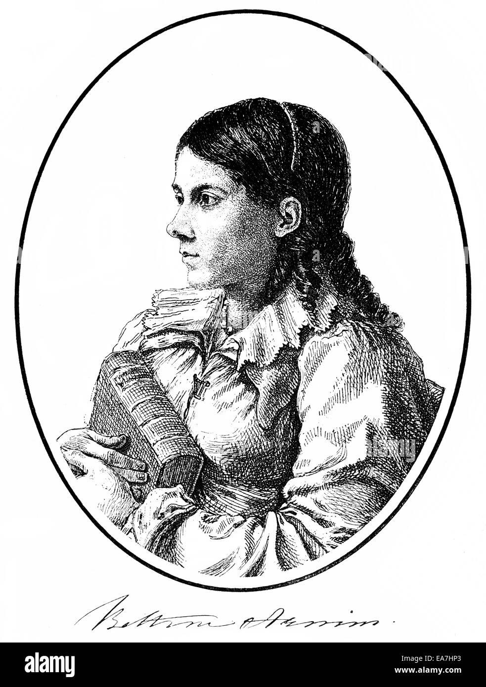 Bettina von Arnim, 1785-1859, deutscher Schriftsteller der deutschen Romantik, Porträt von Bettina von Arnim, Stockbild