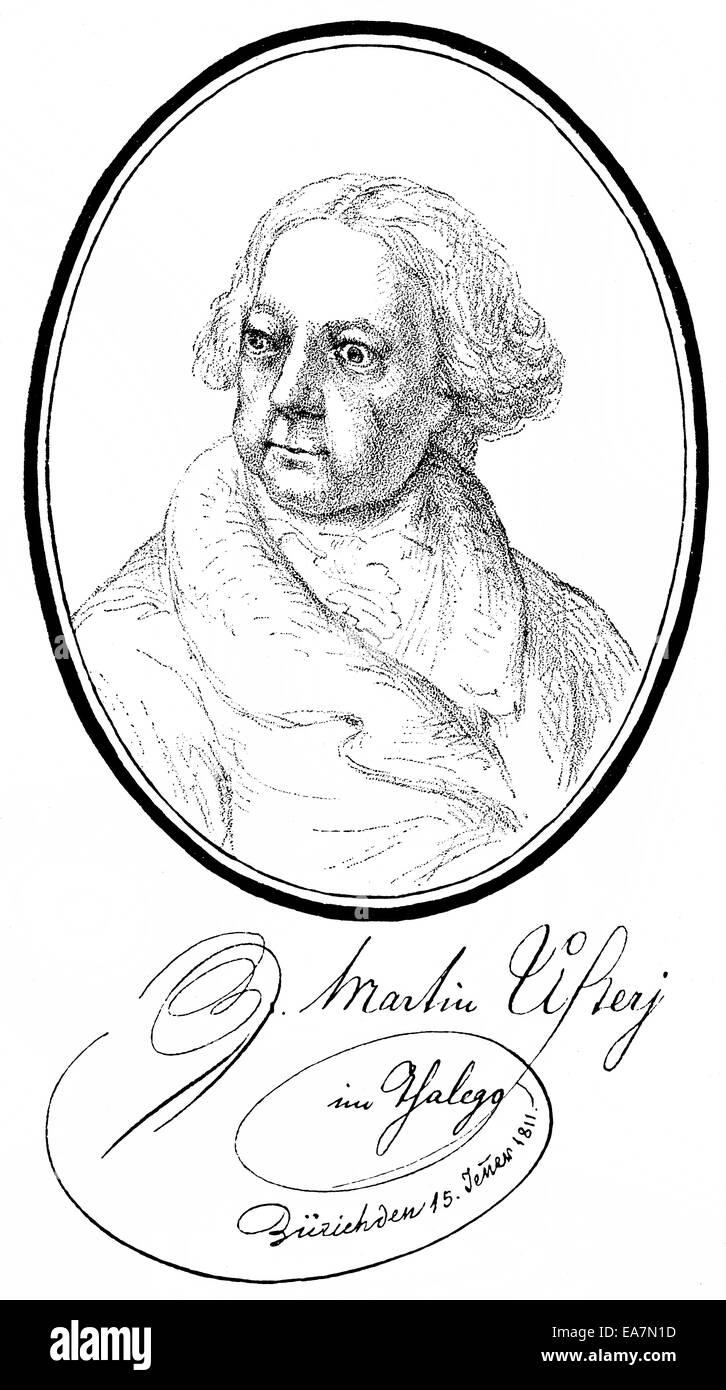 Johann Martin Usteri, 1763-1827, Schweizer Dichter, Maler und Zeichner, Portait von Johann Martin Usteri (1763-1827), Stockbild