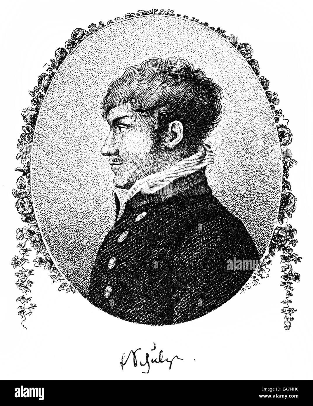 Ernst Conrad Friedrich Schulze, 1789-1817, deutscher Dichter der Romantik, Portait von Ernst Conrad Friedrich Schulze Stockbild