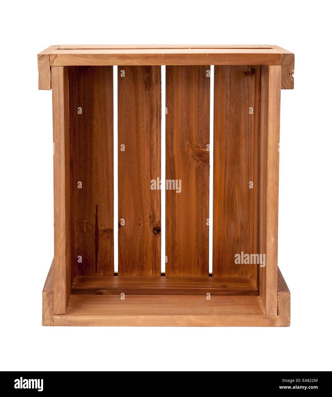 Eine offene kleine Holzkiste. Stockbild