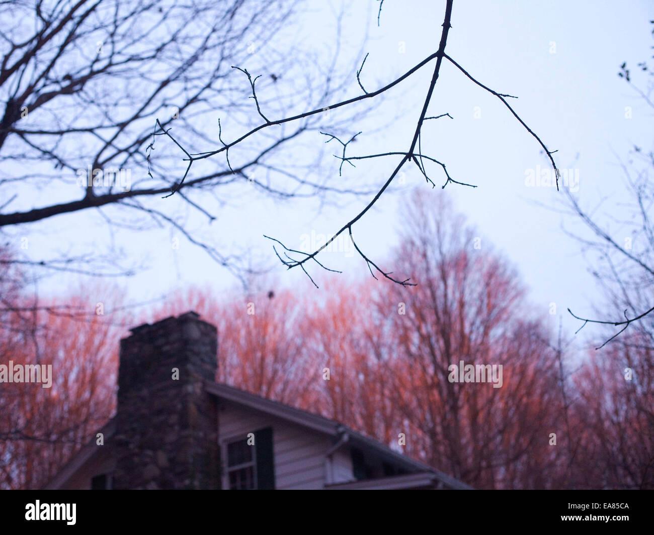 Detail der Niederlassung und Spitze des Hauses im Winter Sonnenuntergang Stockbild