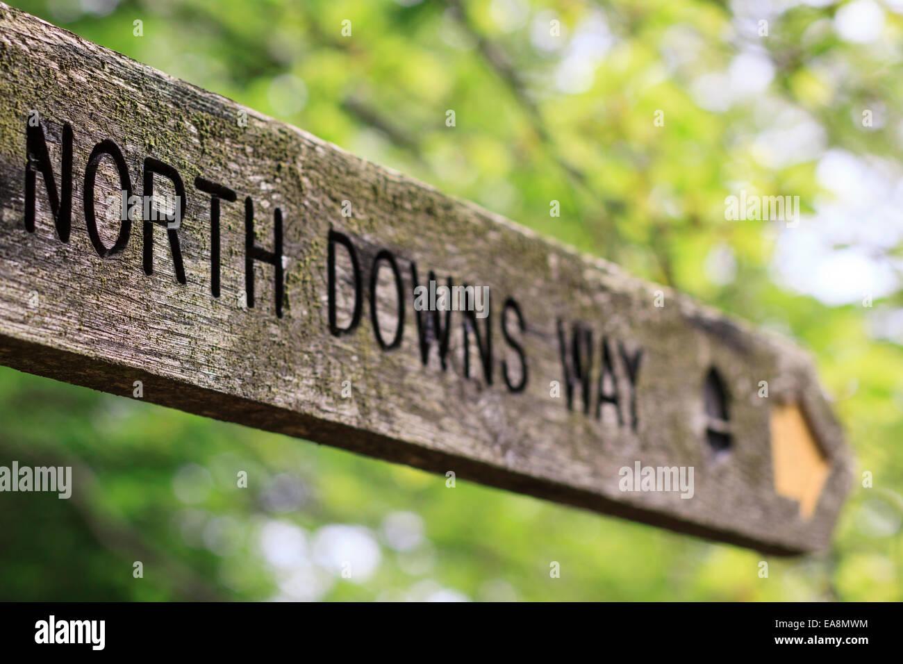Ein Wegweiser aus Holz auf die North Downs Way, ein National Trail in Surrey Hügel Stockbild
