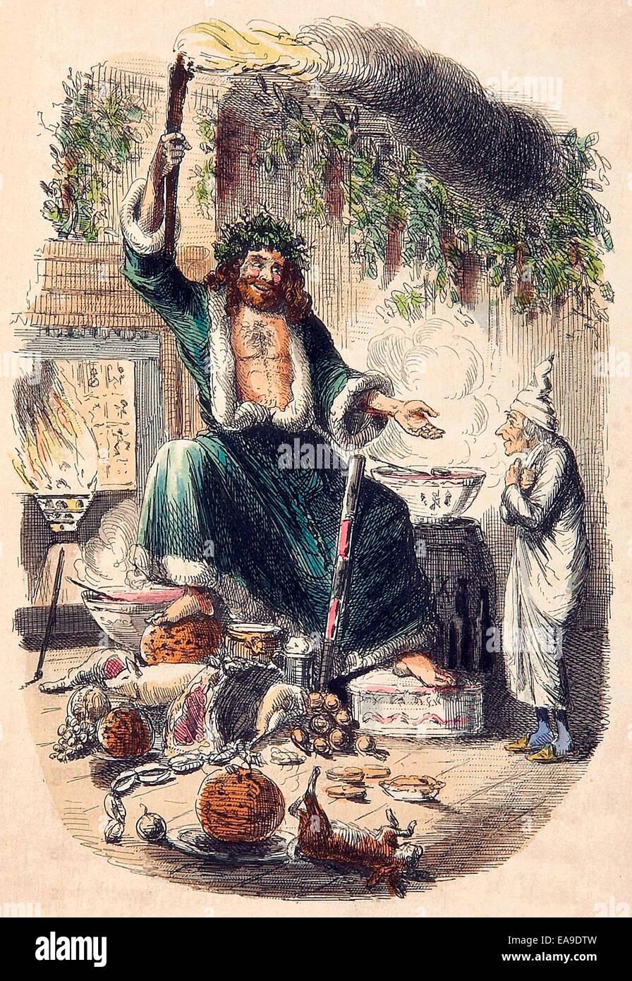 Ebenezer Scrooge und die Ghost of Christmas Present. Von Charles ...