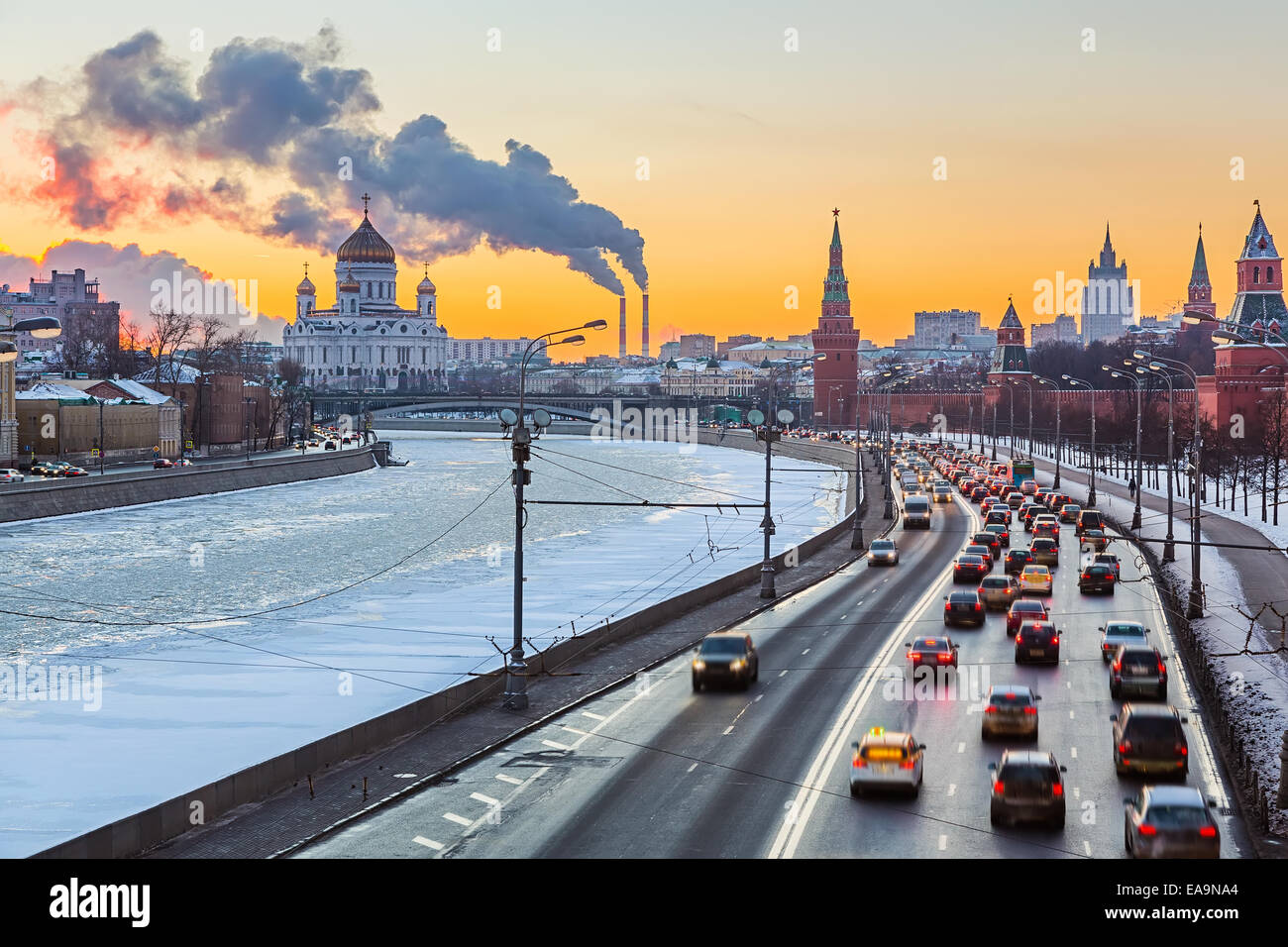 Winter in Moskau Stockbild