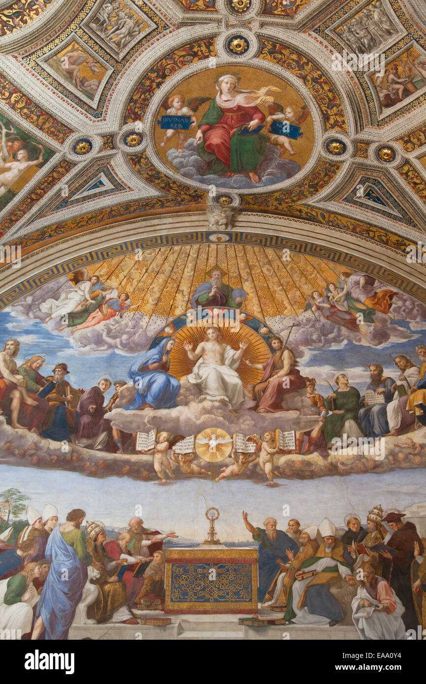 Fresko der Streit um das Allerheiligste im Raum der Signatur im Vatikanischen Museum (UNESCO Weltkulturerbe), Vatica Stockbild