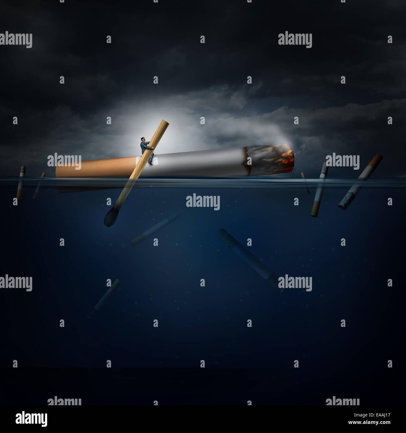 Gefahr-Konzept als eine Person auf eine gefährliche Reise in einem Meer Rudern eine riesige Zigarette mit einem Stockbild