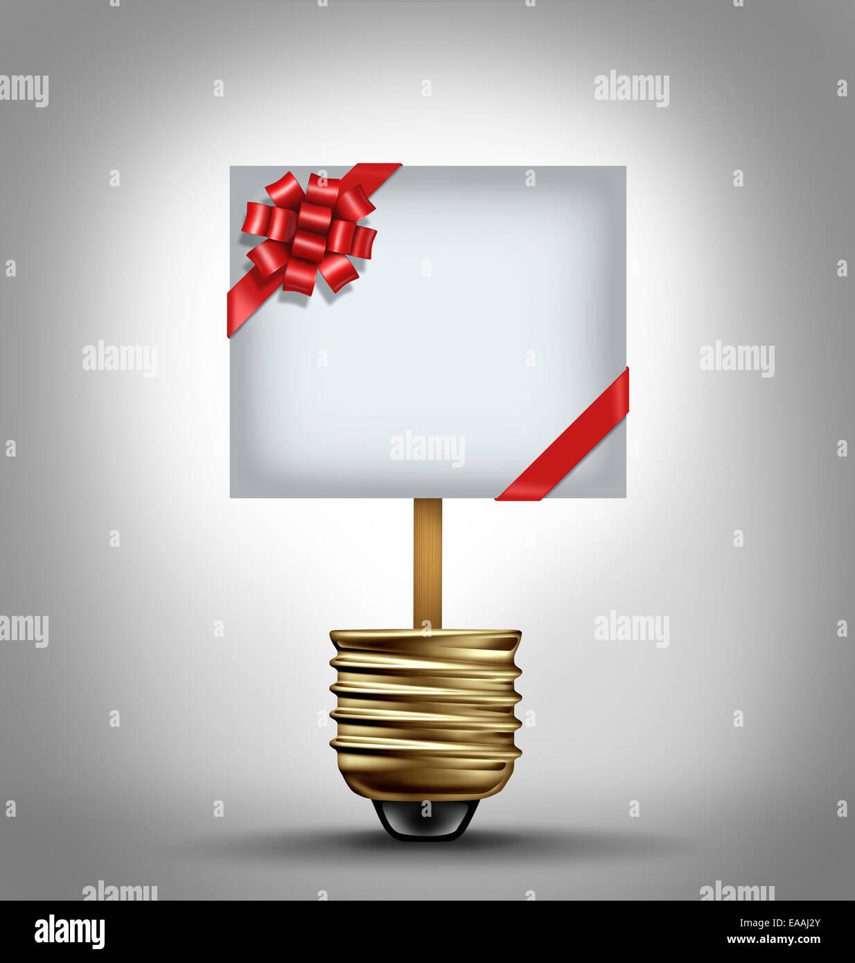 Geschenk-Konzept als eine offene Glühbirne mit einer roten Schleife verziert Zeichen als Urlaub shopping Ideen Stockbild