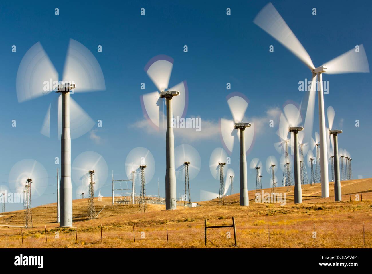 Bestandteil der Tehachapi Pass Wind farm, das erste groß angelegte Wind Farmgebiet entwickelt in den USA, California, Stockbild