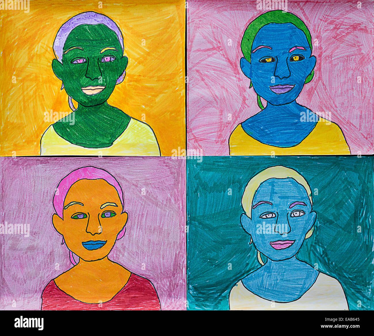 Des Kindes Kunstprojekt über Warhol. Stockfoto
