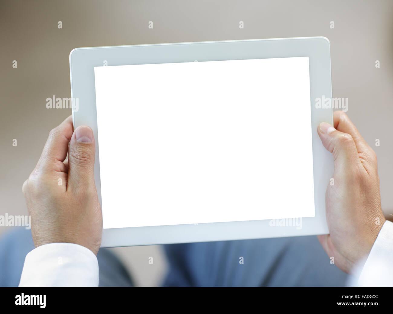 Digital-Tablette mit leerer Bildschirm Stockbild