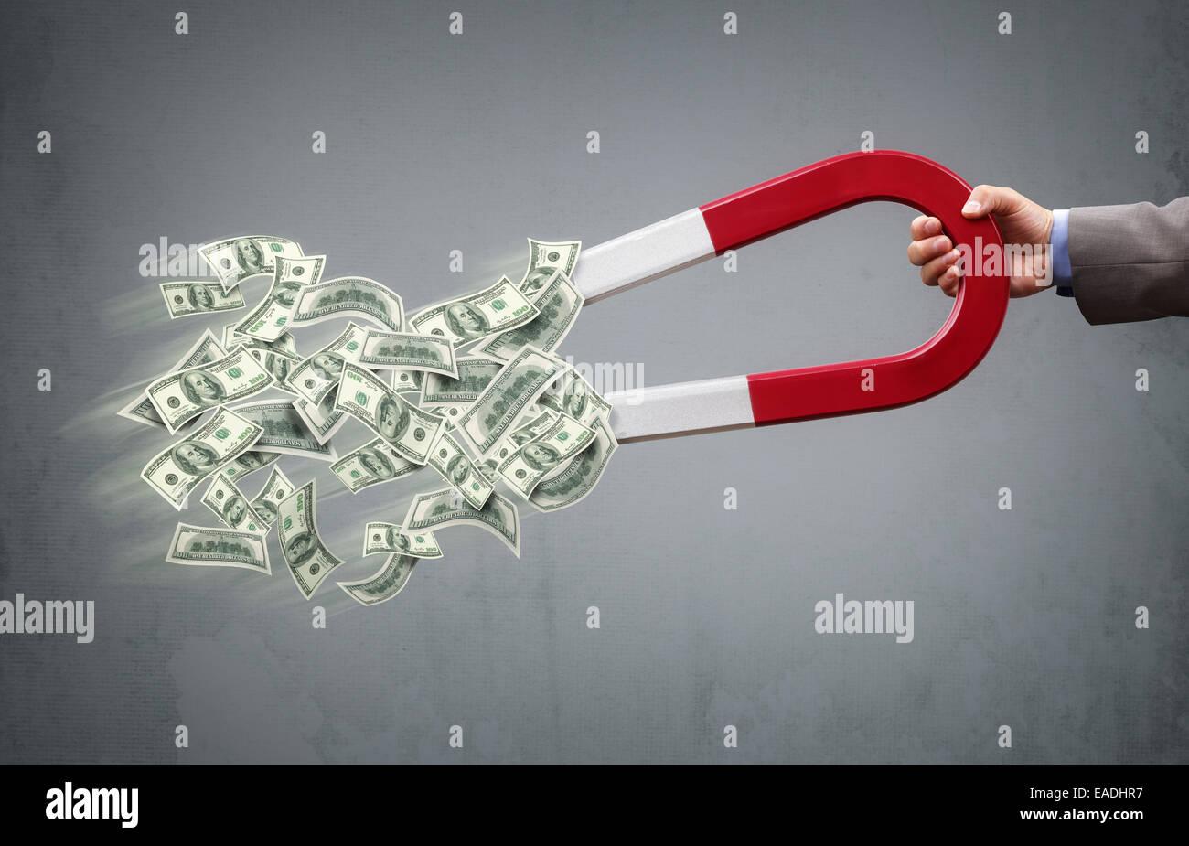 Geld-magnet Stockbild