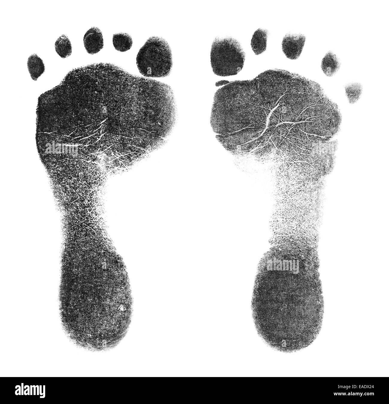 Schwarz Baby Foot Prints isoliert auf weißem Hintergrund. Stockbild