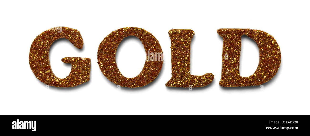Wort Gold gemacht mit goldenen Glitzer Buchstaben, Isolated on White Background. Stockbild