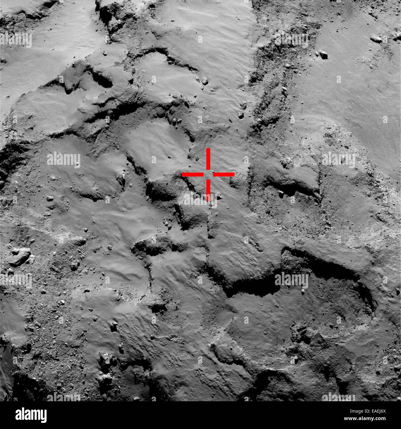 12. November 2014. Dieses Bild zeigt ein OSIRIS engen Winkel Aufnahme aus einer Entfernung von 30 km am 14. September Stockbild