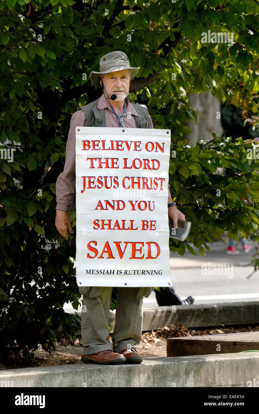 Westminster, London, England, UK. Religiöse Demonstrant gegen Vorgehen gegen Syrien. 29. August 2013, London. Stockbild