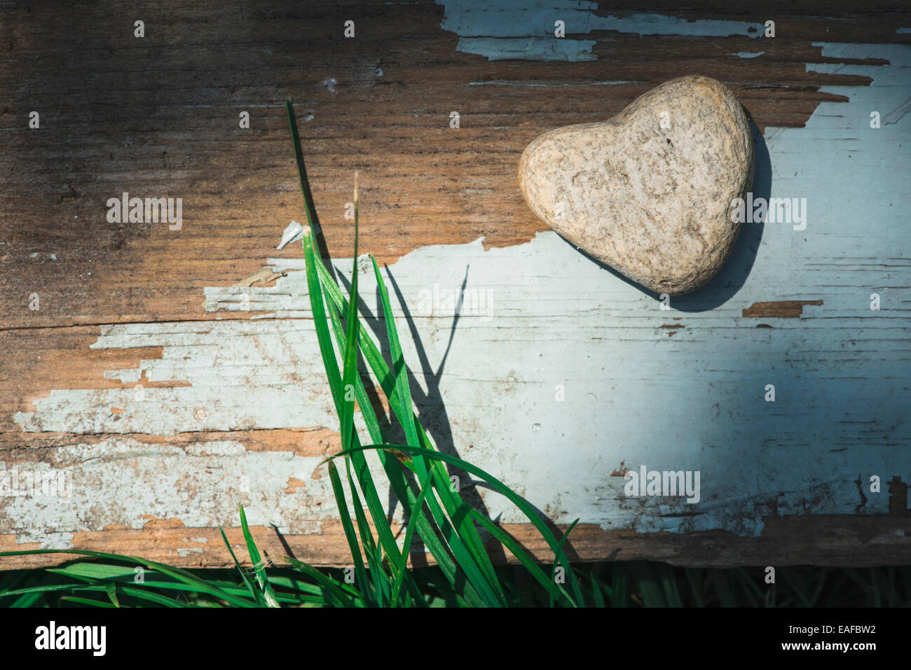 Stein Herz Form auf Holz. Grasgrün Stockbild